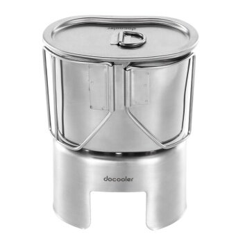 Docooler Outdoor Portable Camping Backpacking Wood Burning StoveCup Set Stainless Steel Wood Stove 700ml Cup Pot with FoldableHandle - intl
