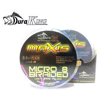 DuraKing สาย PE ถัก 8 รุ่น Maxis Micro 8 Braided ขนาด 0.4/13lbs5.9KG 100M.