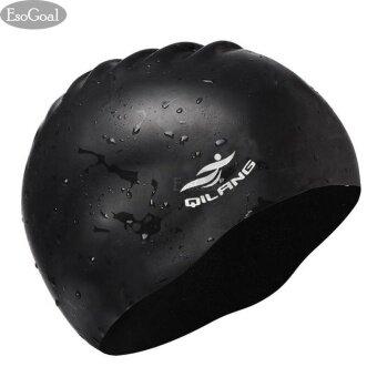 EsoGoal หมวกว่ายน้ำซิลิโคน สำหรับคนผมยาว ใส่ได้ทั้งชายและหญิง (สีดำ)