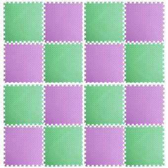 2561 แผ่นรองคลาน แผ่นกันกระแทก EVA 60*60*1.2 มี 16 แผ่นต่อชุด สีเขียว ม่วง พื้นที่ 240*240