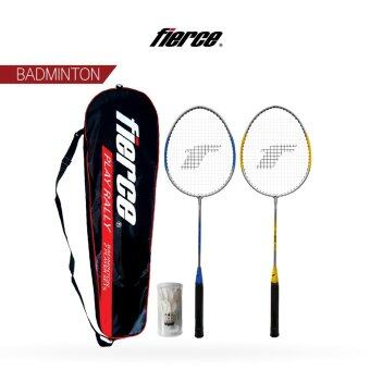 FIERCE Leisure Badminton Racquet Set with Shuttlecock (Yellow/Blue)