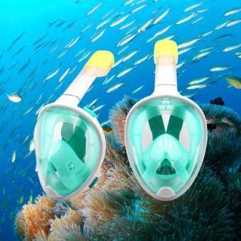 หน้ากากดำน้ำ หน้ากากดำน้ำแบบเต็มหน้า หน้ากากดำน้ำแบบไม่ต้องคาบท่อFull Face Snorkel Mask (Green/สีเขียว)