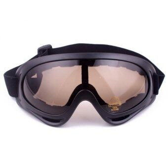 G2G แว่นตากันแดด กันฝุ่น สำหรับขี่มอเตอร์ไซค์ จักรยาน หรือ เล่นกีฬากลางแจ้ง กรอบดำ มีสายรัด เลนส์สีชา จำนวน 1 ชิ้น