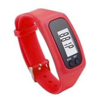 G2G นาฬิกาดิจิตอลสายรัดข้อมือหน้าจอ LCD สำหรับใส่วิ่งหรือเดิน สีแดง จำนวน 1 ชิ้น