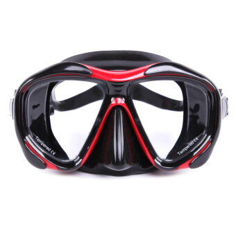 Harga Whale Silicone Snorkeling Swimming Glasses Goggles Profession Diving Mask(Red)