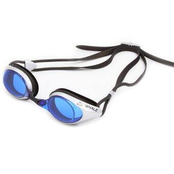 Harga Whale Professional racing Anti-Fog UV Swimming Goggles Blue-silver