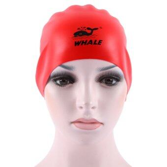 Harga Whale 2016 New design Two-Sides silicone men and women comfortable color swiming cap(Red-White)
