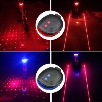 Harga 5LED+2Laser Mountain Road Bike Bicycle Light Laser Tail Light Cycling Safety Warning Rear Lamp 7 Model Caution - intl