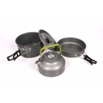 Harga Outdoor Camping Cookware Utensils 2-3 Persons Outdoor Pot cooker Sets Picnic Tableware with kettle - intl