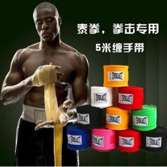 Harga 2pcs/roll(5M) Boxing Hand Wraps Cotton Bandage Sports Absorb Sweat Boxing Binding MMA Protect Belt - intl