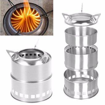 Harga Outdoor Wood Stove Backpacking Portable Survival Wood Burning Camping Stove Hot SELL (SLIVER) - intl