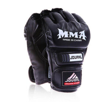 Harga 2016New Brand MMA Boxing Gloves Top Quality PU Leather MMA Half Fighting Boxing Gloves Competition Training Gloves FreeShipping(Black) - Intl