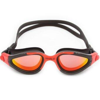 Harga Whale New Mirror Anti-fog Swimming Glasses silicone swimming goggle with UV400(Red)