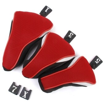 Harga 3pcs Washable Soft Strechy Golf Headcover Protective Cover Case Set No. 1 3 5 (Red)