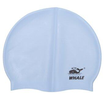 Harga Whale Unisex Waterproof Comfortable Protect Ears Swimming Cap(Light Blue)