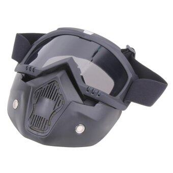 Harga Motorcycle Goggles Detachable Harley Protect Padding Full Mask(Silver) - intl