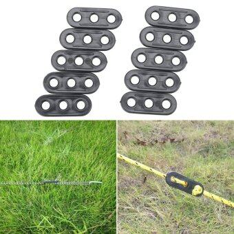 Harga 10Pcs Camping Tent Guy Rope Line Tensioners 3Holes Bent Runners Awning - intl