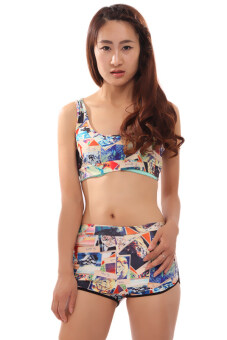 Harga LALANG Floral Print Push Up Bathing Suit
