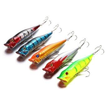 Harga JinGle 5PCS Bass Popper Crankbaits Hooks Tackle Minnow Fishing Lures (Multicolor)