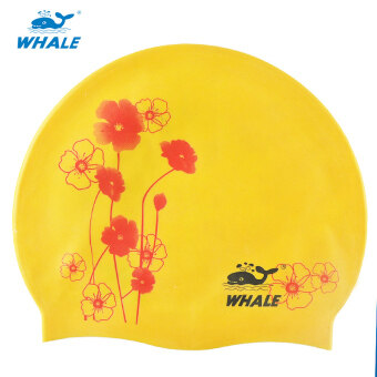 Harga Whale Unisex Durable and comfortable Sports Silicone Swimming Swim Cap(Yellow)