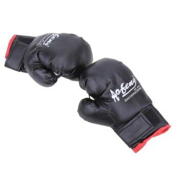 Harga 1 Pair Children PU Leather Durable Boxing Gloves(Black) - intl