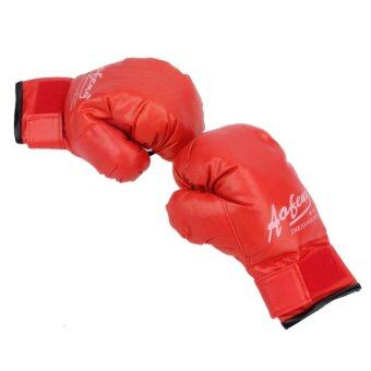 Harga 1 Pair Children PU Leather Durable Boxing Gloves(Red) - intl