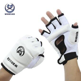 Harga Sports Outdoors Boxing Wansda Wsd - 1008 Paired Unisex Thai Half Finger Gloves For Karate Boxing Training(White) - intl