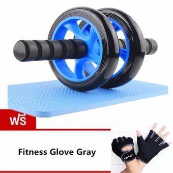 2561 JJ ลูกกลิ้งบริหารหน้าท้อง ล้อกลิ้งเล่นกล้ามท้อง แบบล้อคู่ บริหารกล้ามท้อง ขนาด 14 CM แถมฟรี YUEYAN ถุงมือฟิตเนส ถุงมือออกกำลังกาย Fitness Glove Weight Lifting Gloves Gray( Int:M)