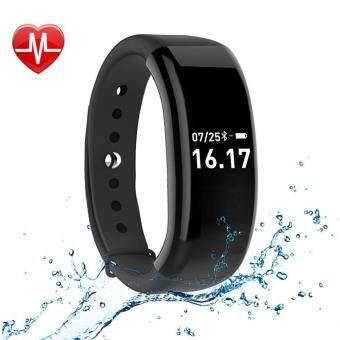 JUSHENG Fitness Activity Tracker นาฬิกา bluetooth 4.0 ไร้สาย กันน้ำแถบสมาร์ทที่มี Sleep Heart Rate Monitor Pedometer กีฬา สร้อยข้อมือสำหรับ Android และ iOS สีดำ