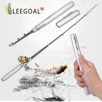 Leegoal ล้ออลูมิเนียมเจือกลองมินิกระเป๋าปากการูปทรงคันเบ็ดเสา(เงิน)