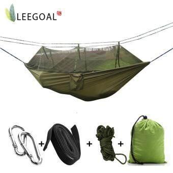 Leegoal ผ้ากันเปื้อนคนเดียวผ้าเบรคผ้าแรงสูงแบบพกพาที่มีมุ้งกันยุงสำหรับทริปท่องเที่ยวกลางแจ้งสีเขียว