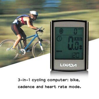 Lixada Multifunctional 3-in-1 Wireless LCD Bicycle Cycling Computer with Cadence Heart Rate Monitor Chest Strap Water-resistant - intl