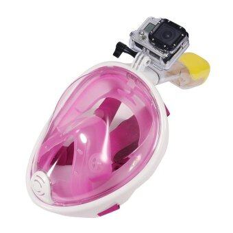 ราคา M SPORT หน้ากากดำน้ำด้วยท่อหายใจ หน้ากากดำน้ำตื้น Super Snorkel แบบมีฐานติดกล้อง Gopro รุ่น DP01N ( สีชมพู)2 ชิ้น