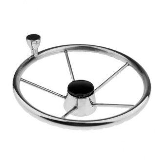 MagiDeal 34cm Dia. 5-Spoke 316 Stainless Steel Marine Boat Steering Wheel with Knob - intl