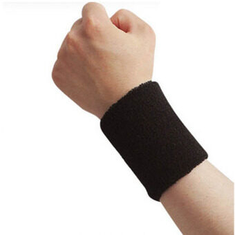 Men  Women Sports Sweatband Tennis Squash Badminton Terry Cloth Wrist Sweat Bands Basketball Gym Wristband Wrist Wraps Black