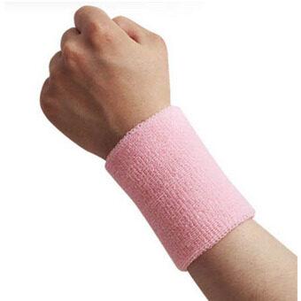 Men  Women Sports Sweatband Tennis Squash Badminton Terry Cloth Wrist Sweat Bands Basketball Gym Wristband Wrist Wraps Pink