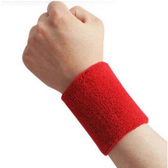 Men  Women Sports Sweatband Tennis Squash Badminton Terry Cloth Wrist Sweat Bands Basketball Gym Wristband Wrist Wraps Red