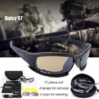 Military Goggles Bullet-proof Army Sunglasses 4 Lens Men HuntingShooting Airsoft Tactical Eyewear (Color: Black) - intl