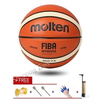 Molten BGG7X GG7X บอลบาสเกตบอล PU Materia Official Size7 บาสเกตบอลฟรี Inflator/ถุงตาข่าย/เข็ม