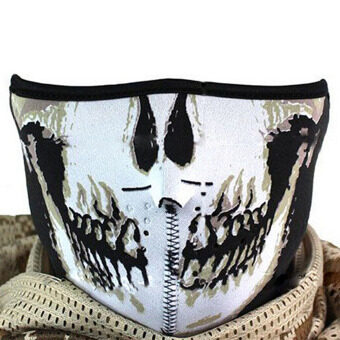 Multifunction Cosplay Bike Skeleton Mask Costume Halloween CS MaskCycling Motorcycle Paintball Half Face Mask Winter Fa - intl
