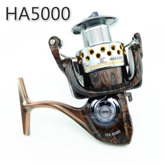 NBS Fishing Reel HA 13+1BB All Metal Spiner Lure Bait Reel 5.2:1Gear Ratio Fishing Carp Reel Rod(HA5000)