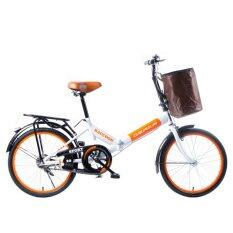 "Osaka Raccoon 20"" จักรยานพับ Raccoon สีขาว-ส้ม"