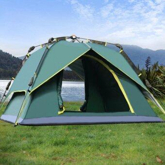 Outdoor Hydraulic AutomaticTents 3-4 Person CampingHiking Tents With Carry Bag(Army Green)