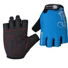 PAlight หายใจหายคอกันลื่นป้องกันการช็อคการขี่จักรยานถุงมือ (สีน้ำเงิน L)