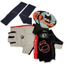 ถุงมือ PEARL IZUMI (สีดำ-แดง) + AQUA-X ปลอกแขนกันแดด กันยูวี (สีดำ) - free size