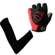 ถุงมือ PEARL IZUMI + AQUA-X ปลอกแขนกันแดด กันยูวี (สีดำ) - free size