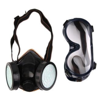 การป้องกันตัว...หน้ากากแก๊สเคมีอุปกรณ์ป้องกันระบบหายใจแบบหน้ากากใบหน้าแว่นตาสีดำ