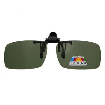 Autoleader สีน้ำตาลเข้ม/สีเขียวขับเลนส์โพลาไรซ์เลนส์แว่นตาคลิป - ON แว่นตา (สนามบินนานาชาติ)