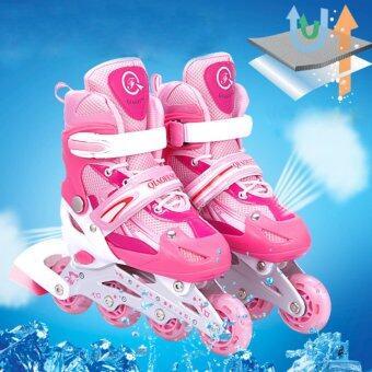 รองเท้าสเก็ต โรลเลอร์เบลด QI-SPORT ไซส์ 34-37 ฟรี สนับป้องกัน(สีชมพู) - 2