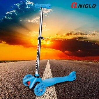 QNIGLO New Arrival suitable for 2-8years old kids adjustable Wheel Balance Kick Scooter with Flash Wheels Blue